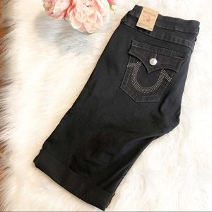 NWT True Religion Black Knee Length Shorts 32